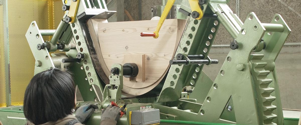 厚板曲木×立体切削